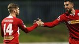 James Knowles celebrates scoring a goal with Joe Gormley