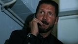 Atletico Madrid coach Diego Simeone watches from the stands