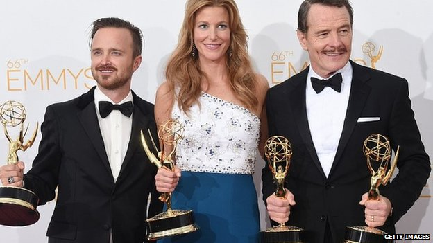 Breaking Bad actors Aaron Paul, Anna Gunn and Bryan Cranston with their Emmy Awards. 25 Aug 2014