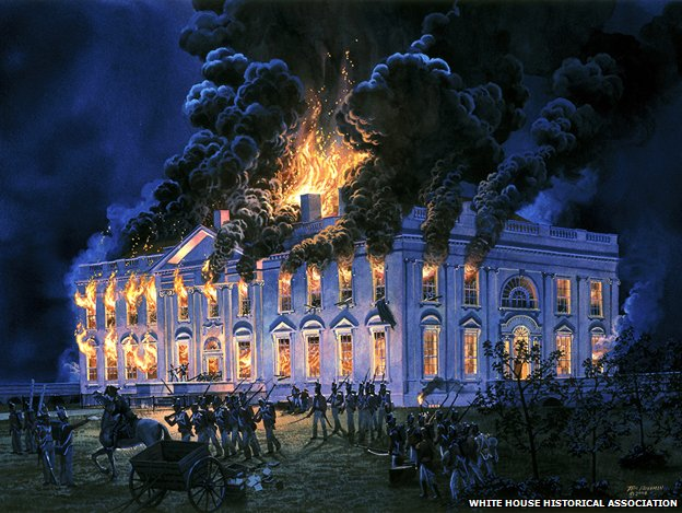 A painting of the White House on fire by Tom Freeman