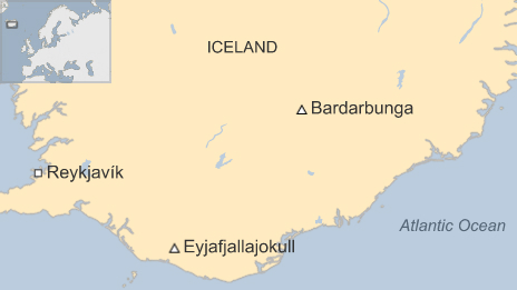 Map of Iceland showing the Bardarbunga volcano