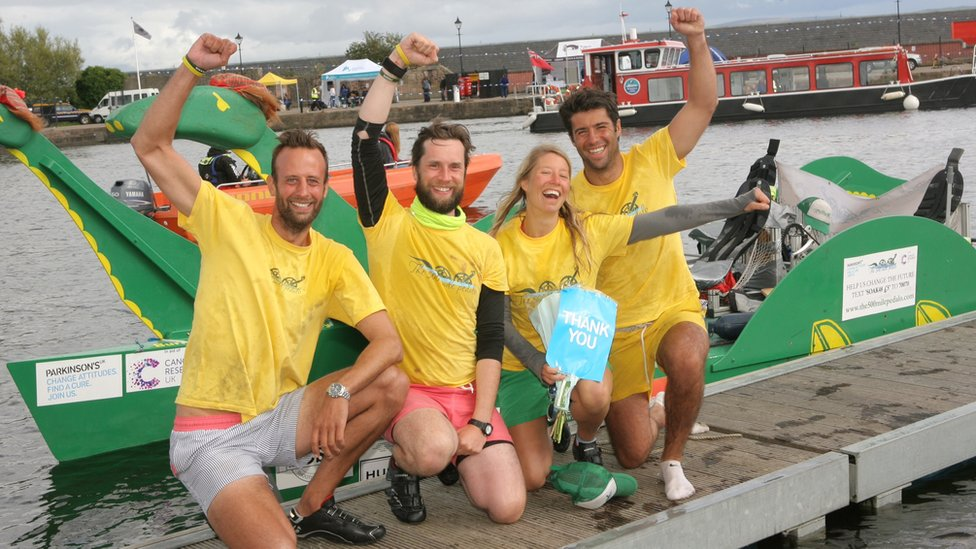Loch Ness Monster-shaped pedalo challenge team