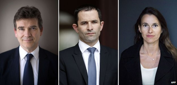 Rebel ministers (from left) Arnaud Montebourg, Benoit Hamon and Aurelie Filippetti