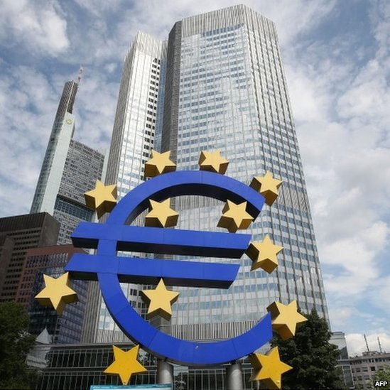 The Euro logo is pictured in front of the European Central Bank, ECB in Frankfurt am Main, western Germany, on 7 August 2014.
