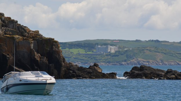 View of Sark and the Barclay brothers' residence