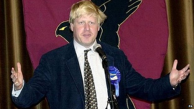 Boris Johnson making an acceptance speech after being elected an MP for the first time in 2001