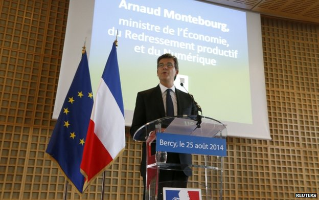 Arnaud Montebourg speaks to journalists (25 August)