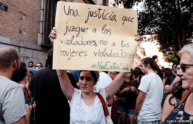 A female protester
