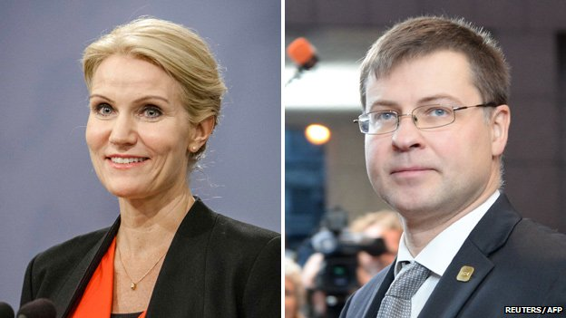 EU candidates Helle Thorning-Schmidt (Denmark - left) and Latvia's Valdis Dombrovskis
