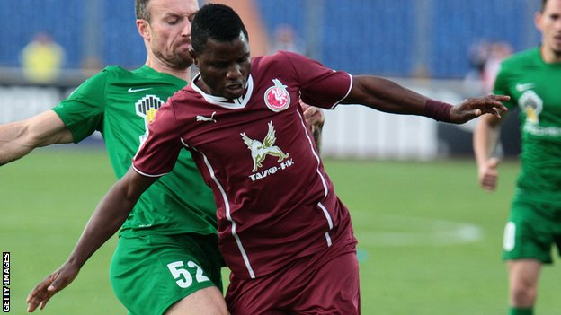 Wakaso Mubarak playing for Rubin Kazan