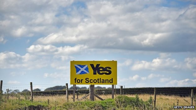 Yes campaign placards are placed in a field on August 26, 2014 in Fenwick, Scotland.