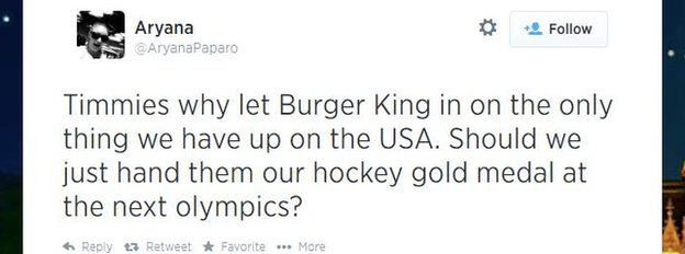 A Canadian tweets about the Burger King-Tim Hortons merger.
