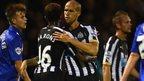 Gabriel Obertan of Newcastle celebrates his side's goal against Gillingham