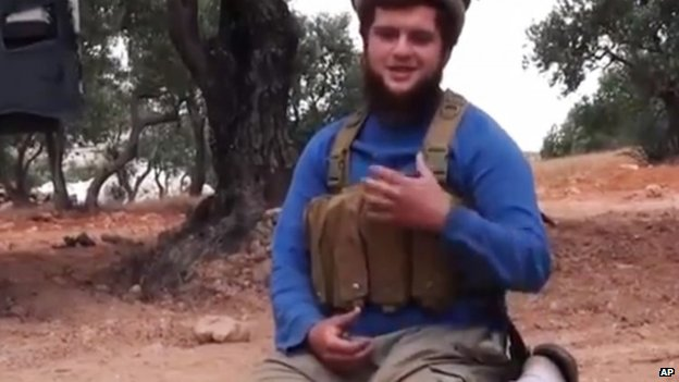 This undated frame grab from video provided by the Manara al-Bayda, the media arm of the al-Qaida-linked Nusra Front, 25 July 2014