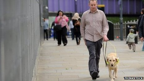 Man walking with a guide dog