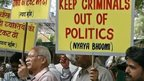 Protest against criminals contesting the parliamentary elections in Delhi on March 14, 2009