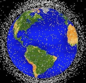 (CIRCA 1989): This National Aeronautics and Space Administration (NASA) handout image shows a graphical representation of space debris in low Earth orbit.