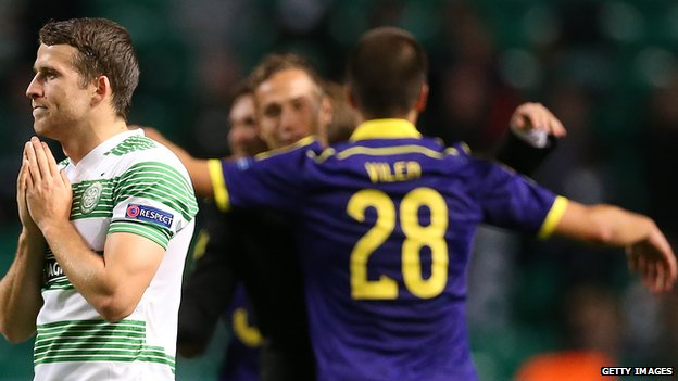 Celtic's Adam Matthews following the defeat by Maribor