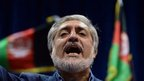 In this photograph taken on July 8, 2014, Afghan presidential candidate Abdullah Abdullah speaks at a rally in Kabul.