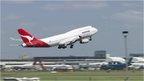 Qantas airliner taking off