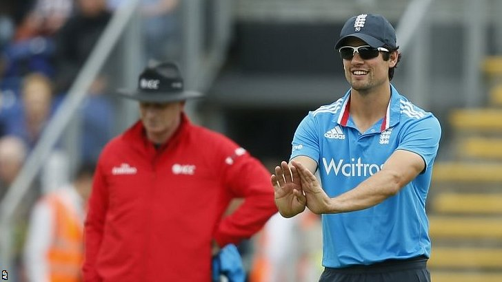 Captain Alastair Cook gestures