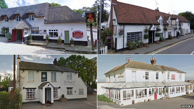 (clockwise from top left) The Red Lion, The Hand & Flowers, The Sportsman and The Royal Oak