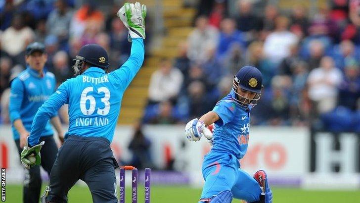 India batsman Ajinkya Rahane is stumped by England wicketkeeper Jos Butler