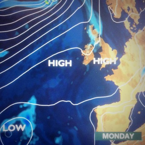 Weather map for Monday