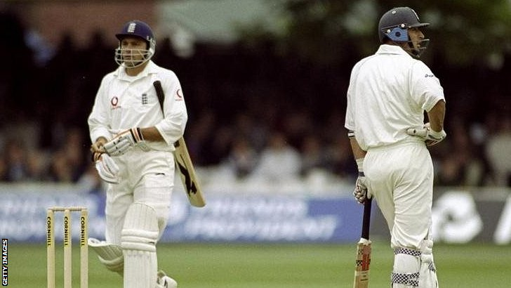 Mark Ramprakash is out during the Lord's Test against New Zealand in 1999
