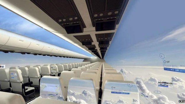 Plane interior covered with screens