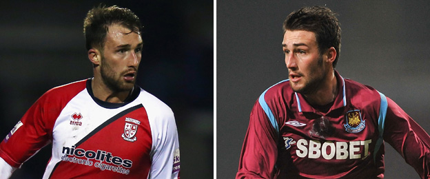 Josh Payne pictured playing for current club Woking (left) and former club West Ham (right)