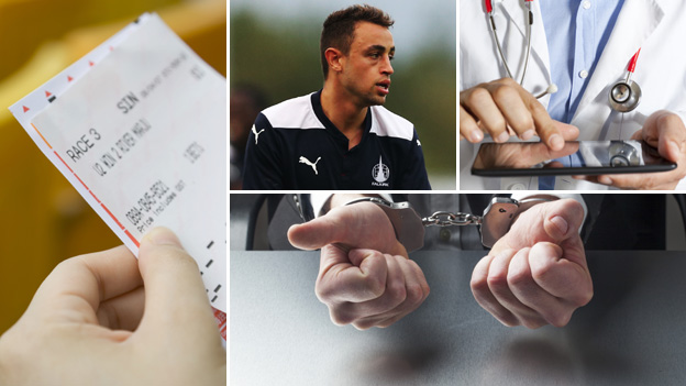 A betting slip, Falkirk player Tom Taiwo, a doctor in uniform and hands that are handcuffed