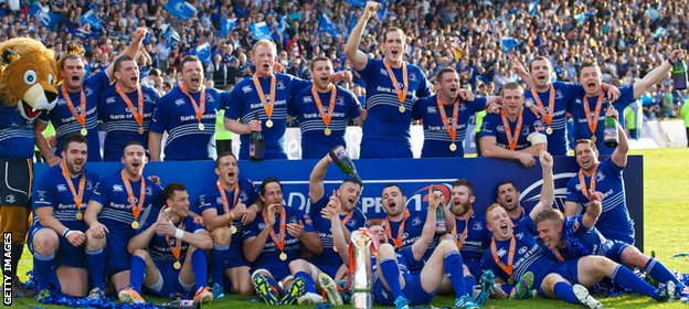 Irish side Leinster celebrate winning the 2013-14 Pro12 title