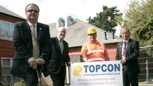 College principal Matthew Orford (left) at the Linkage College turf-cutting ceremony, along with (L-R)  Ges Roulstone (Linkage Chief Executive), Andy Winn (Topcon) and Paul Cordy from North East Lincolnshire Council