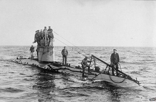 The crew of a German UC-1 class submarine on deck. Introduced in 1915, the submarines of this class were employed mainly on minelaying duties and carried up to twelve mines. German submarines sank 1,845,000 tons of Allied and neutral shipping between February and April 1917. Q 20220