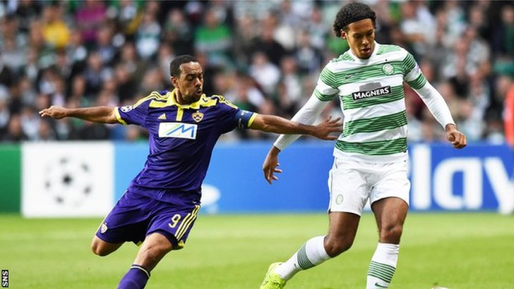 Celtic Van Dijk in action against Maribor