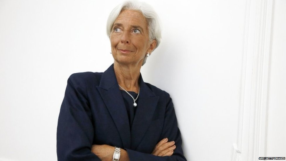 IMF chief Christine Lagarde on the sidelines of a press conference in Paris on 27 August 2014.