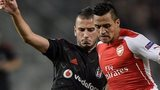 Arsenal star Alexis Sanchez during the first-leg Champions League play-off tie against Besiktas