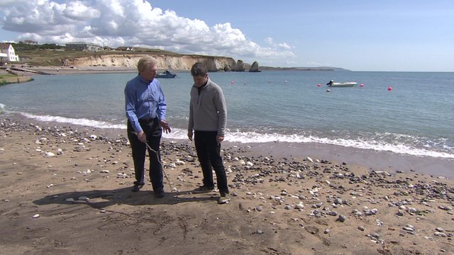 Jim Beveridge and David Grossman on an Isle of Wight beach