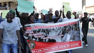 MDC protesters with a banner calling for jobs, protesting in Harare, Zimbabwe - 27 August 2014