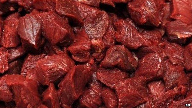 Tray of horsemeat