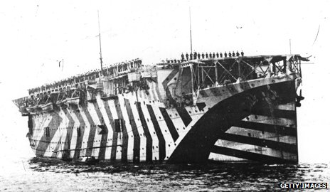 A camouflaged ship