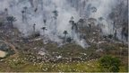 Man-made fires clear land for cattle or crops in Sao Felix Do Xingu Municipality, Para, Brazil, 12/08/2008