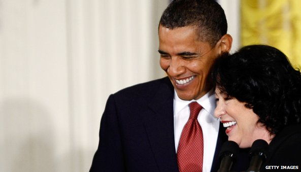 US President Barack Obama and Justice Sonia Sotomayor