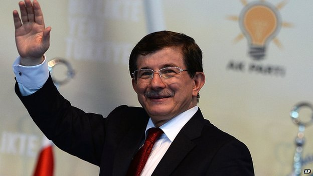 Ahmet Davutoglu at the AK Party congress on Wednesday. 27 Aug 2014