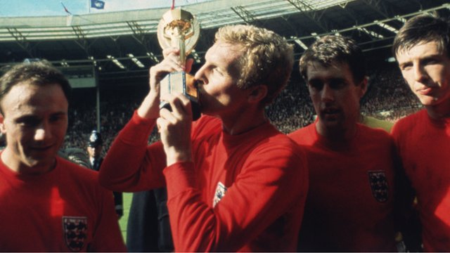 England captain Bobby Moore with the Jules Rimet trophy