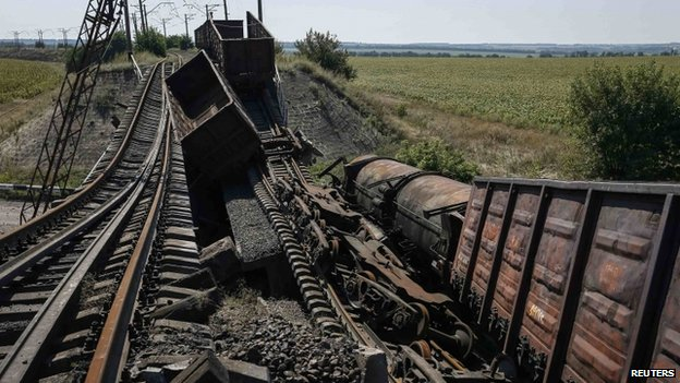 Railway line destroyed near Donetsk. 27 Aug 2014