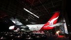 An A380 in the hangar during the QANTAS Gala Dinner at Sydney Domestic Airport on April 18, 2013 in Sydney, Australia.