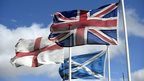 The English, Scottish and Union flags