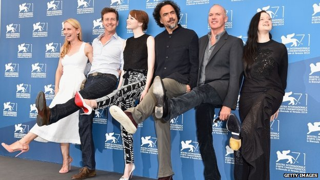 Alejandro Inarritu (middle) with the stars of Birdman